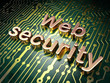 SEO web design concept: Web Security on circuit board background