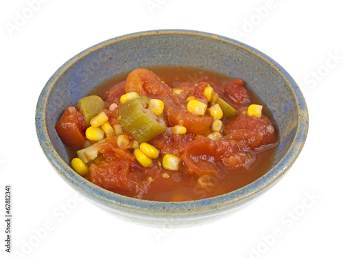 Tomatoes With Okra And Corn In Bowl
