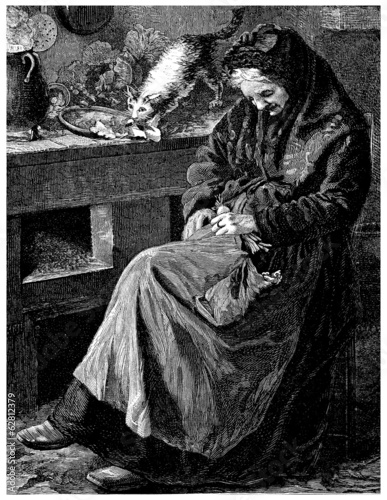 Sleepy old Peasant Woman - 19th century