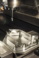 Industrial metal mold milling. Metalworking.