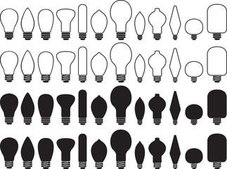 Bulb collection illustrated on white