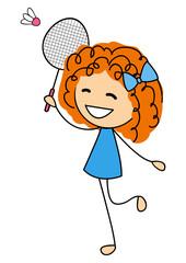 Cute little girl playing badminton