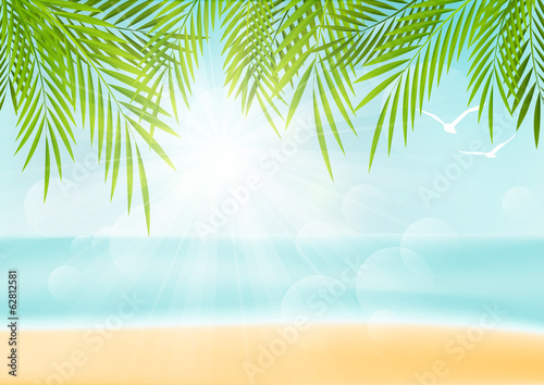 Summer vacation background with palm leaves