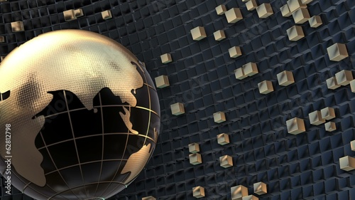 3D Golden Globe Seamlessly Looped Background