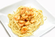 Shrimp Scampi Served on a White Plate