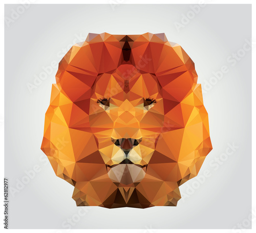 Geometric polygon lion head, triangle pattern, vector
