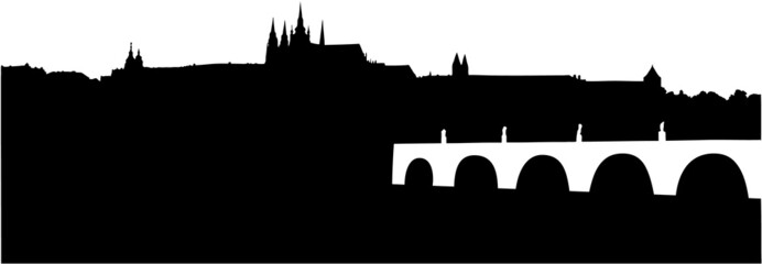 silhouette of Prague Castle and Charles Bridge