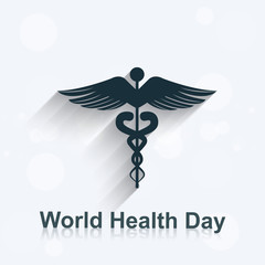 World health day concept medical background on caduceus medical