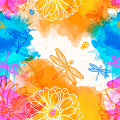 Seamless abstract wallpaper of watercolors
