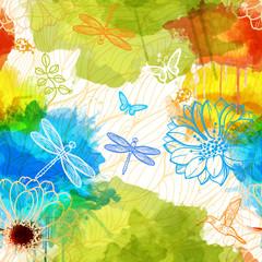 Seamless wallpaper of watercolors flowers,butterflies,birds