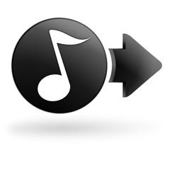 musique sur bouton noir