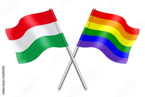 Flags : Hungary and rainbow