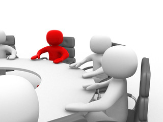 3D man sitting at a round table and having business meeting - 3d