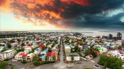 Reykjavik cityspace, time lapse at sunset
