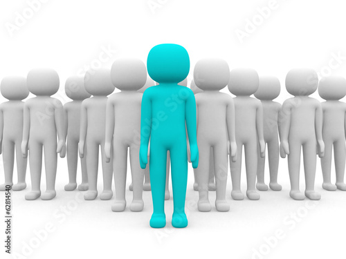 3d people - men, person together. Businessmen. Leadership and te