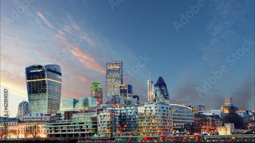 London Skylines at sunset, time lapse, UK