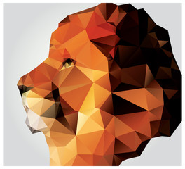 Geometric polygon lion head, profile, triangle pattern