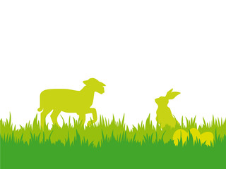 Easter background with lamb, bunny and eggs