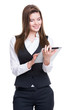 Beautiful young business woman using tablet.