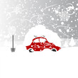 Постер, плакат: Car with snowbank on roof winter blizzard