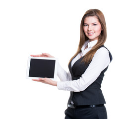 Young smiling business woman holding tablet.