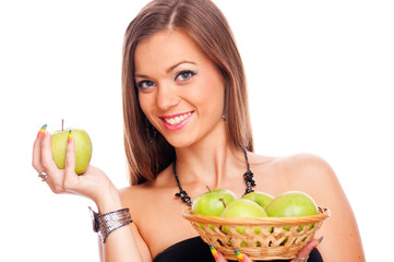 Woman with green apples
