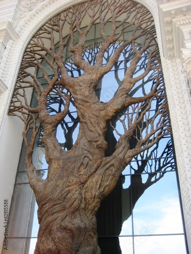 tree on facade of farmers palace in kazan, russia
