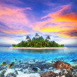 Leinwanddruck Bild - Tropical island of Maldives with marine life