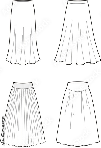 Vector illustration of women's long skirts