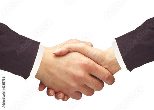 Handshakings isolated on white Conceptual photo of teamwork