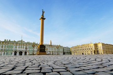 The Alexander column on Palace Square in Saint Petersburg
