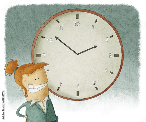 Illustration of businesswoman with clock