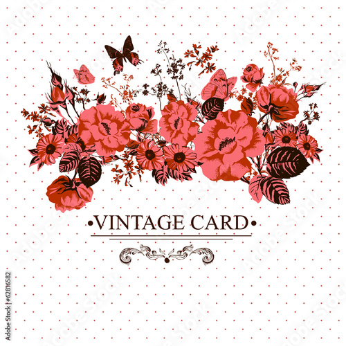 Vintage Floral Card with Butterflies.