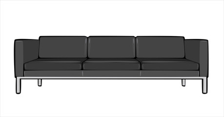 vector cartoon gray couch isolated on white background