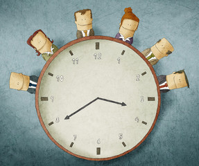 Illustration of Business people on clock