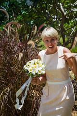 wedding bouquet and girlfriend of bride