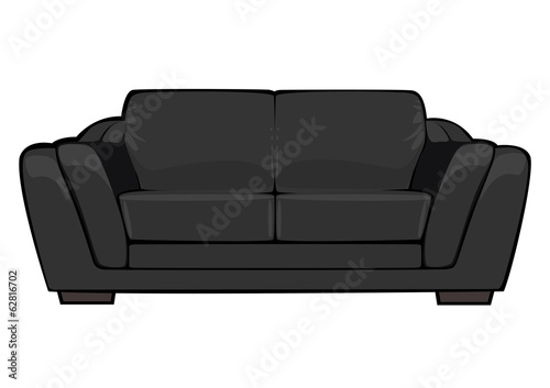 vector cartoon black couch isolated on white background - 62816702