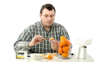 Phytocontrol expert measuring mandarine slice