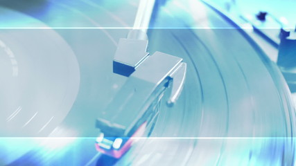 Record Player Blue Animated Overlay VJ Style