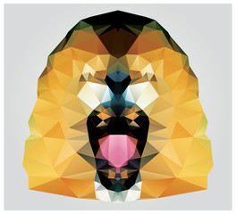 Geometric polygon lion head roaring, pattern design, vector
