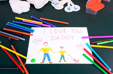 child's drawing Daddy, I love you