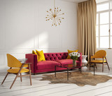 Elegant interior, with red velvet sofa and window and flowers