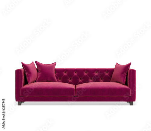 Isolated contemporary pink purple velvet  sofa