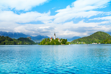 Bell tower island in Bled