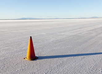 A single traffic cone in the white landscape of the Bonneville Salt Flats, during Speed Week