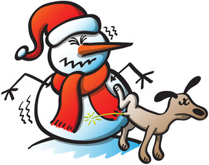 Bad Dog Peeing on a Christmas Snowman