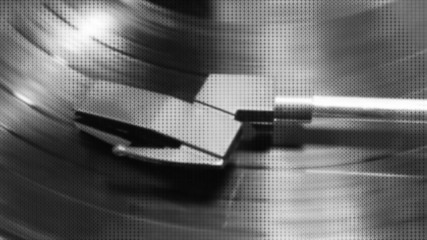 Animated Texture Black White Record Player