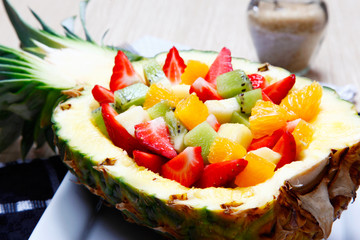 Fruit salad in a pineapple..