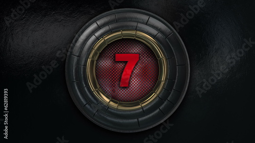 3D Count Down  Red-Black Brushed Metal