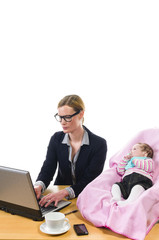 Businesswoman with baby